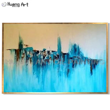 100% Hand-painted Yellow and Blue Colors Abstract Oil Painting on Canvas Hang for Room Decor Knife Art