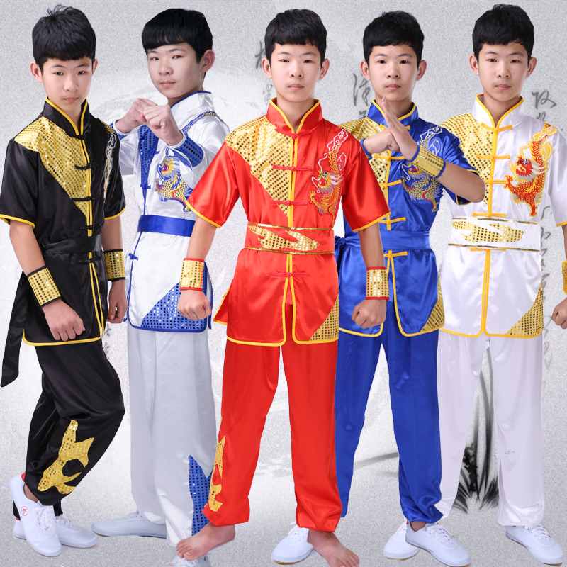 Children's Martial Arts Clothing Practice Clothes Short Sleeve Young Children Adult Taiji Competition Performance Clothing