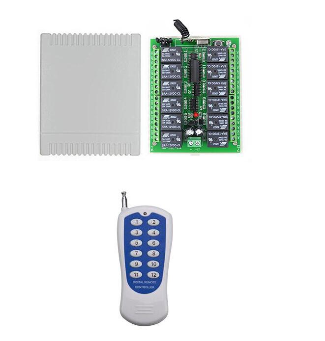 DC12V Integrated Circuits Part 12V 10A 12 Channel Receiver Wireless Relay RF Remote Control Switch DIY Module light led openers