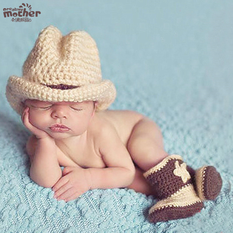 Newborn Baby Cow boy Hat Photography Props Crochet Beanie Handmade Cotton Knitted Costume Babies Hats Sets ...