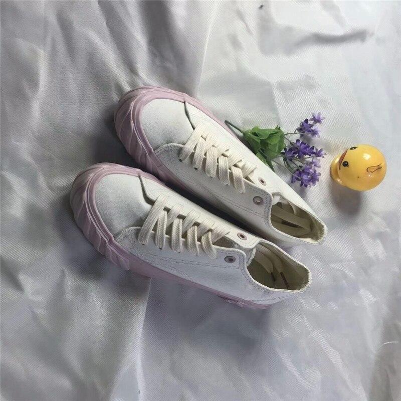 Blanc Talon Casual Plat Sneakers Toile Bleu Chaussures Couleur Printemps Automne Dentelle Kjstyrka Arrivé Nouveau Dames Up Solide rose Appartements 2018 Z0ACnqO