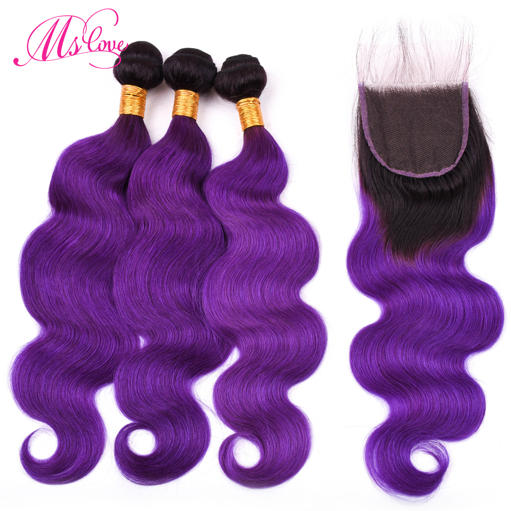 Ms Love Pre Colored T1b Purple Body Wave Brazilian Hair Bundles With Closure 4*4 Remy Ombre Human Hair Bundles With Closure