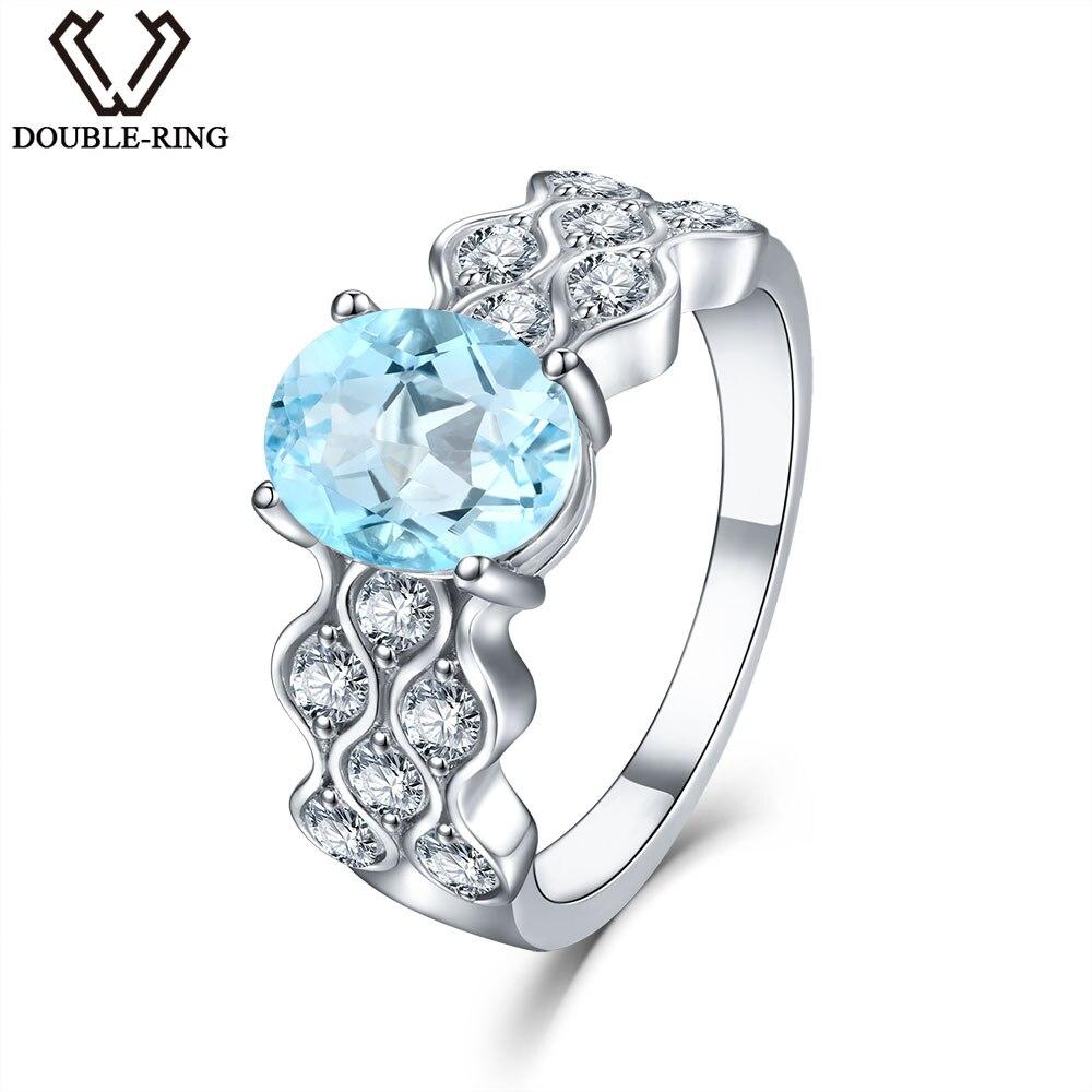 DOUBLE-R 1,6 ct oválný přírodní klasický modrý Topaz 925 mincový stříbrný prsten pro dámské výšivky drahokamů