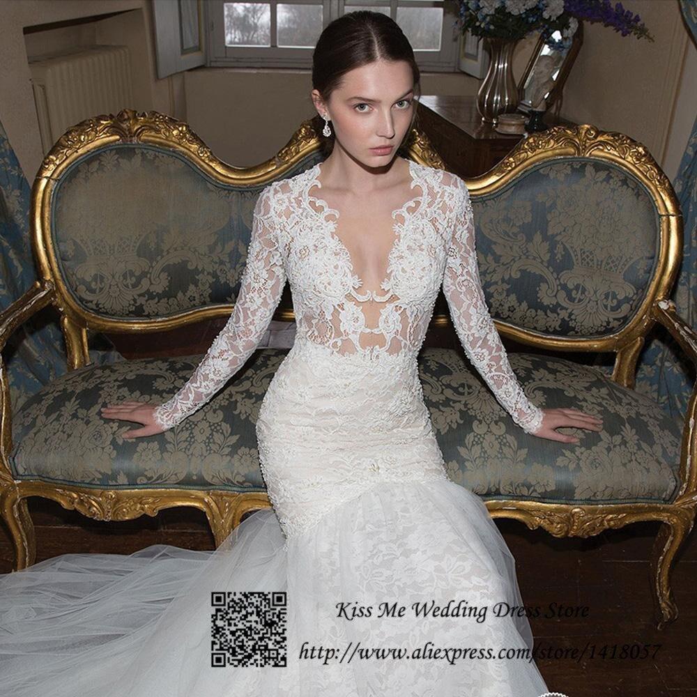 2015 sexy russian style see through mermaid berta wedding dress long sleeve lace bride dresses vestido