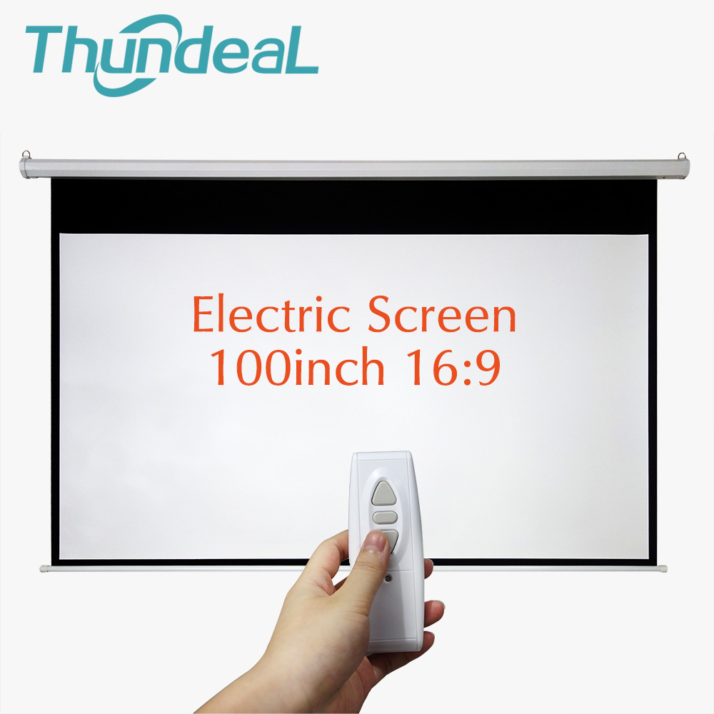 ThundeaL 100 inch 16:9 Electric Projector Screen Home Cinema Business School Bar Motorized LED DLP Projection Screen Electric image
