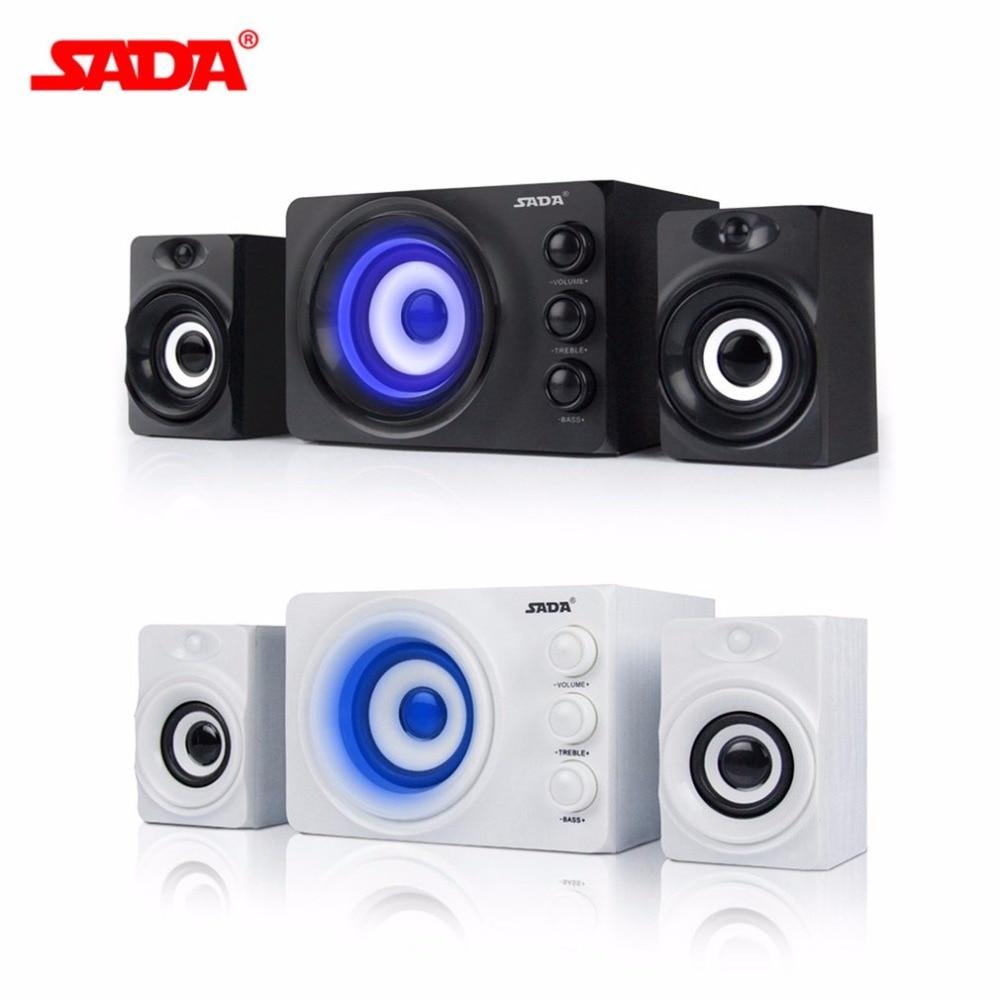 SADA D 206 PC Computer Speaker 3 Horn Mobile Phone Laptop Desktop Speakers DC 5V Stereo Bass Column With Blue Atmosphere Light