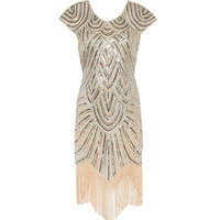 Women 1920s Diamond Sequined Embellished Fringed Great Gatsby Flapper Dress Retro Tassle Croche Midi Party Dress
