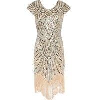 Women 1920s Diamond Sequined Embellished Fringed Great Gatsby Flapper Dress Retro Tassle Croche Midi Party Dress