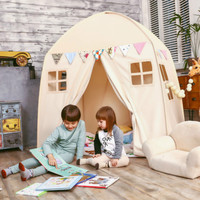 Love Tree Kid Play House Cotton Canvas Indoor Children Sleeping Tent Large House Beige House
