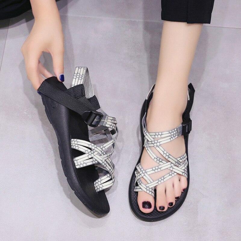 PADEGAO Women Sandals Flat Wedges Cross-Strap Beach Fashion Front Neutral Leisure
