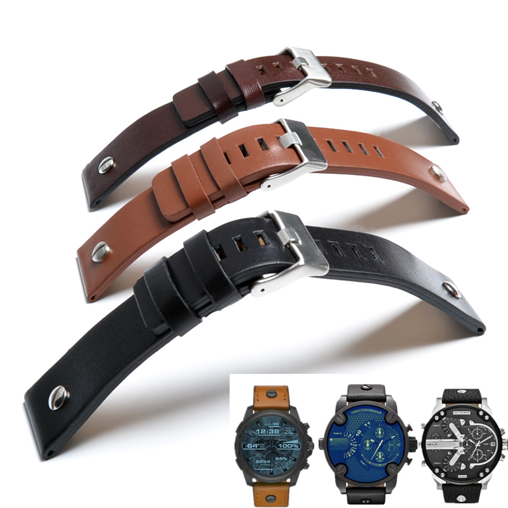 Fashion Watchband Cow Leather Strap for Diesel Watch Display THEDADDIE Watchstrap 22mm 24mm 26mm 28mm 30mm Watchband Man Woman