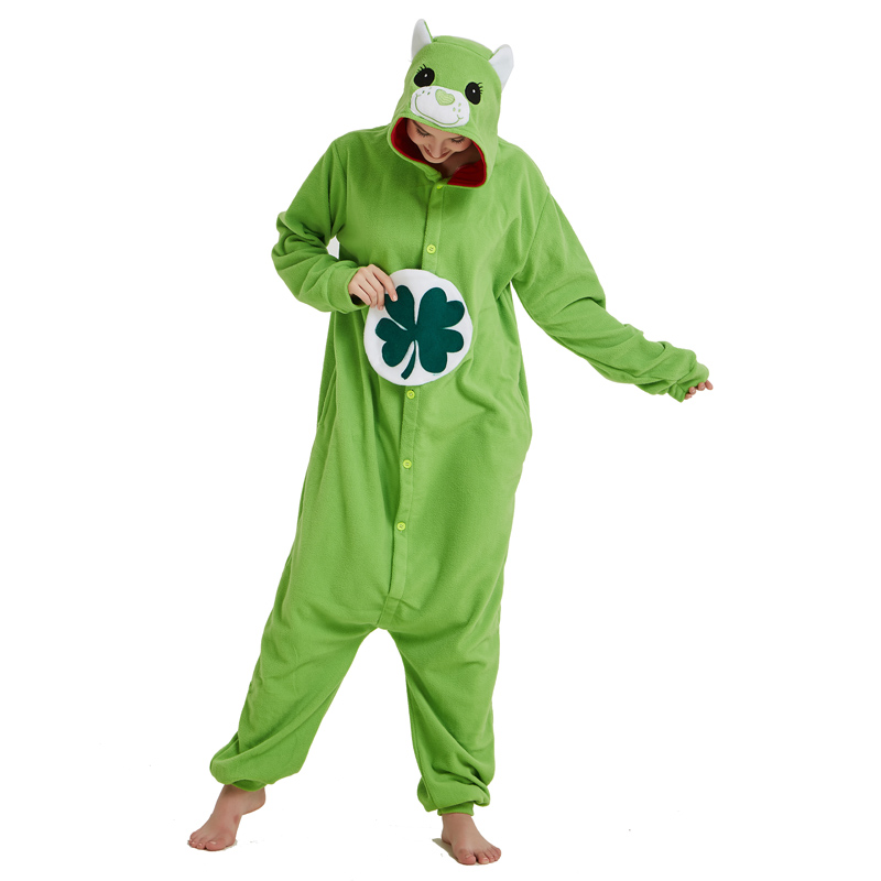 Green Four-leaf Clover Lucky Care Bear Cosplay Pajamas Adult Women Men Unisex Onesie One Piece Hooded Romper Party Costumes (4)