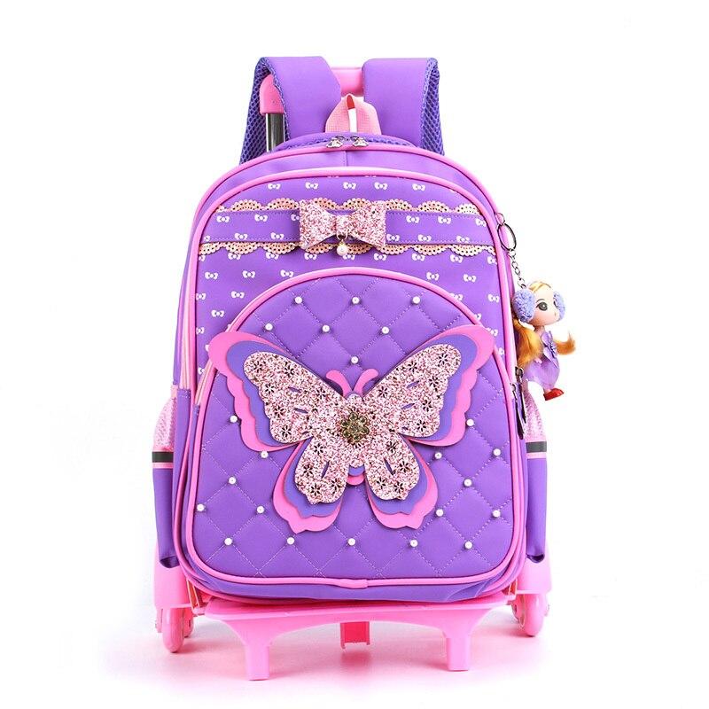 Kind Trolley Schule Tasche Glänzende Schmetterling Kinder Rädern Schulranzen Abnehmbare Design Multifunktions Mädchen Schule Tasche Mit 3 Räder-in Schultaschen aus Gepäck & Taschen bei  Gruppe 2