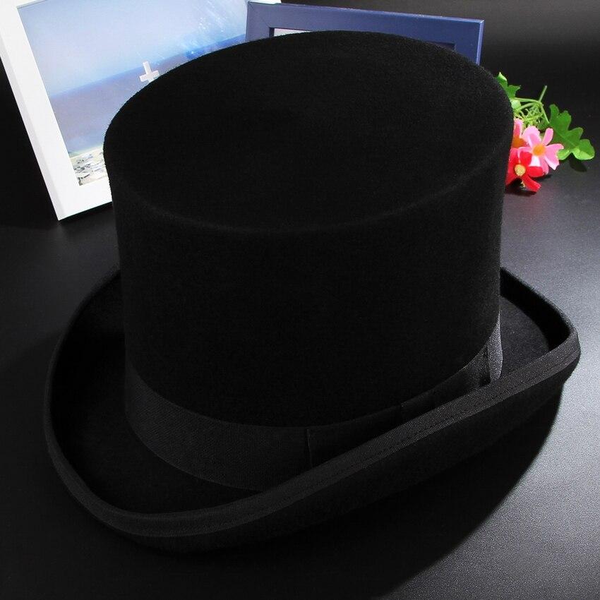 GEMVIE 17 cm Vintage sombrero para hombres de lana sombreros cilindro para las mujeres Sombrerero Loco plana Presidente fiesta Derby sombrero de mago tapa - 4