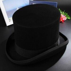 Image 4 - Gemvie 17cm 100% 울 펠트 비버 하이 탑 모자 토퍼 더비 실린더 모자 여성용 남성용 매드 해터 파티 의상 마술사 모자