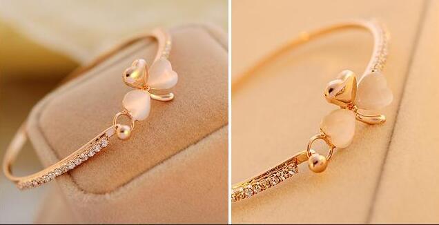 2018 new Opal Stone Bracelet & Bangle Fashion Crystal Jewelry four-leaf clover shape Women Wedding Bracelet