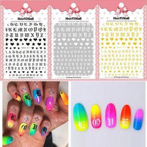 Image 2 - 1 шт. Готическая буква 3D наклейка для ногтей розовое золото слова слайдер для ногтей наклейки Клейкие стикеры для маникюра украшение для ногтей