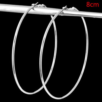 4 Size Women Gold Silver Color Metal Big Circle Smooth Large Big Round Hoop Earings For Women Sexy Fashion Jewelry 5