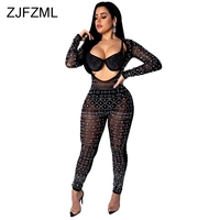Glitter Rhinestone Sexy Jumpsuits For Women 2019 Front Cut Out Long Sleeve See Through Bodysuit Elegant Female Club Party Romper