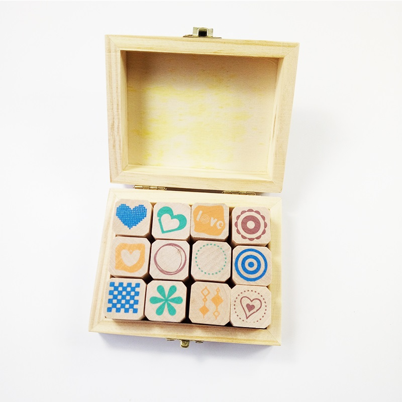 4 Set/pack Exquisite Diary Decoration Simple Pattern Wood Stamp Wooden Box Clear Stamps For Scrapbooking Wholesale