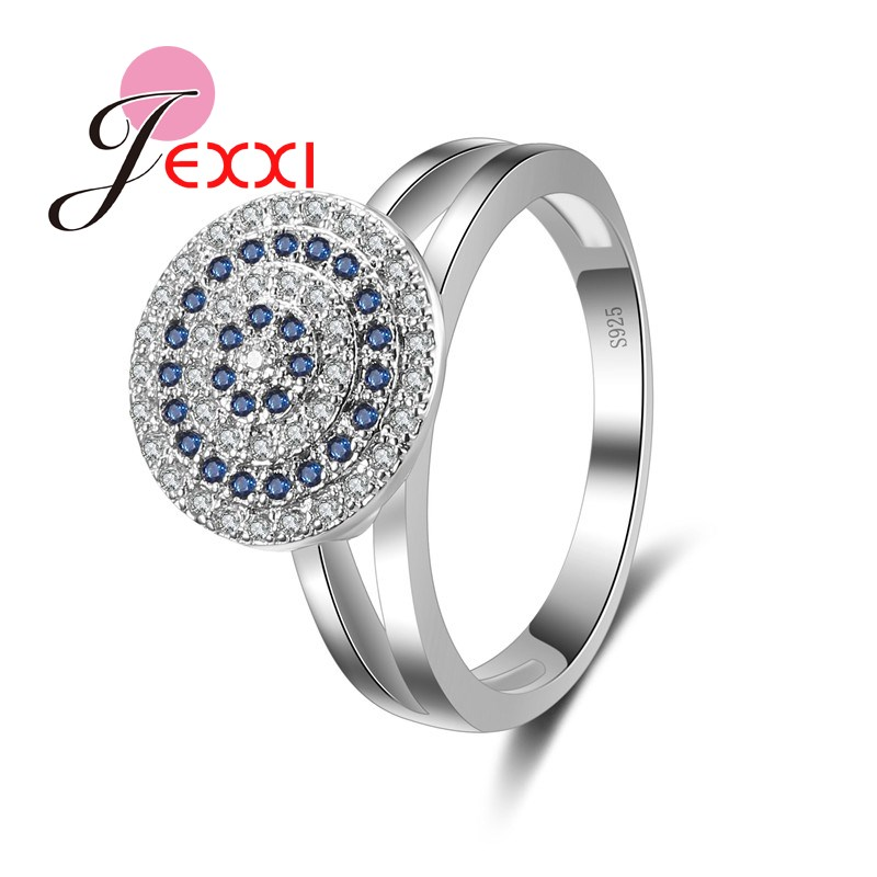 JEXXI Creative Hollow Design 925 Silver Finger Jewelry Luxury Round Target Plate Full Blue White Rhinestone Women Trendy Rings