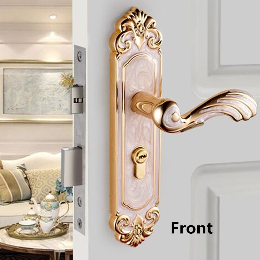 European Fashion Interior Door Lock Bedroom Wooden Door Handle Lock Amber white Study Bathroom Kitchen Top Quality door lock european style retro quiet mechanical interior door lock ivory white bedroom study kitchen bathroom solid wood door lock handle