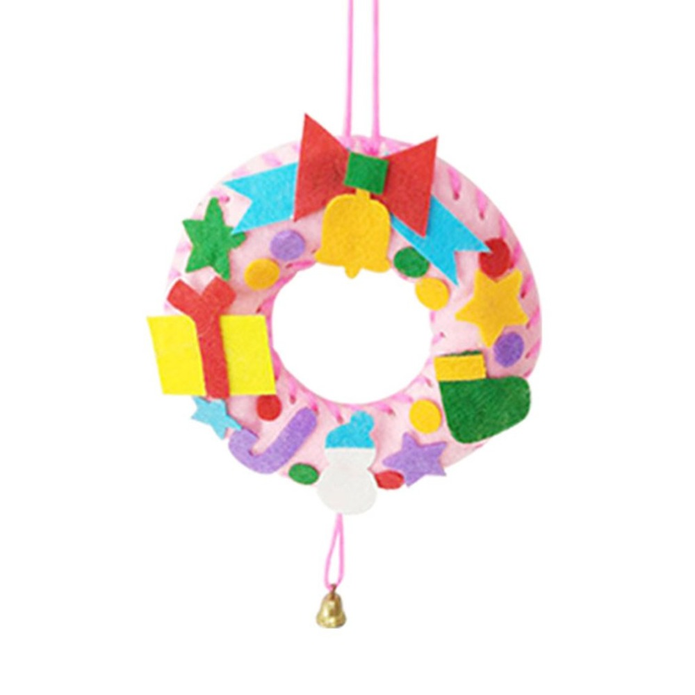 Children:  1PCS Children Creative Christmas-tree Nonwoven fabric Bell Wreaths Hanging Decoration Kids DIY Handmade Crafts Art Toys Gift - Martin's & Co