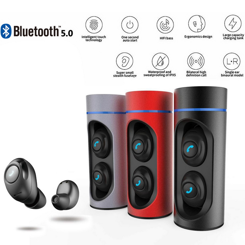 TWS Dual Earphone Bluetooth 5.0 Headset Wireless In-ear Earbud With Handsfree Stereo Music Mic Earphones With Charging Box