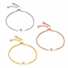 Fashion Charm Cross Bracelet Bangles For Women Rose Gold/Gold/steel Color Length Adjustable Female Ladies Friendship Jewelry