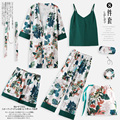 Пижамы, весна, осень, длинные рукава, чистое хлопковое кимоно, листья, ночные рубашки, комплект из семи предметов, летняя Зимняя Сексуальная ...