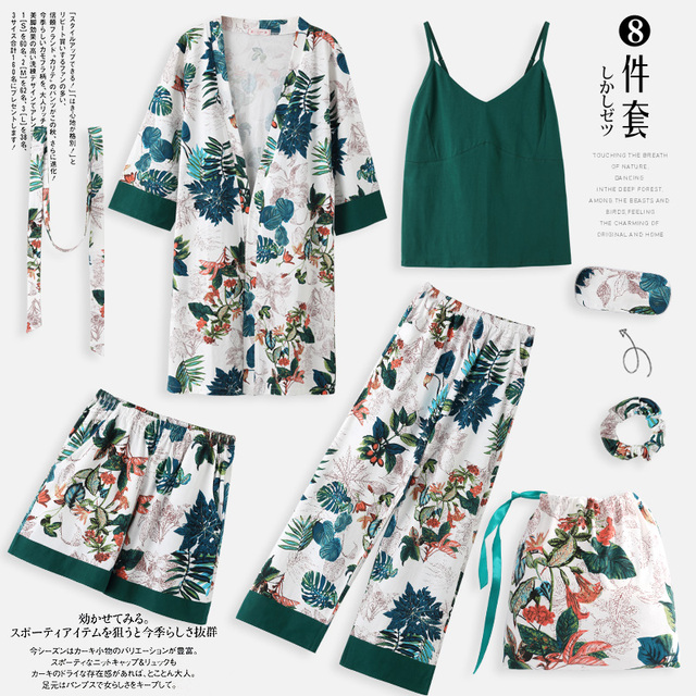 Pajamas, spring, autumn, long sleeves, pure cotton kimono, leaves, nightgowns,Seven piece set, summer winter sexy home clothes.