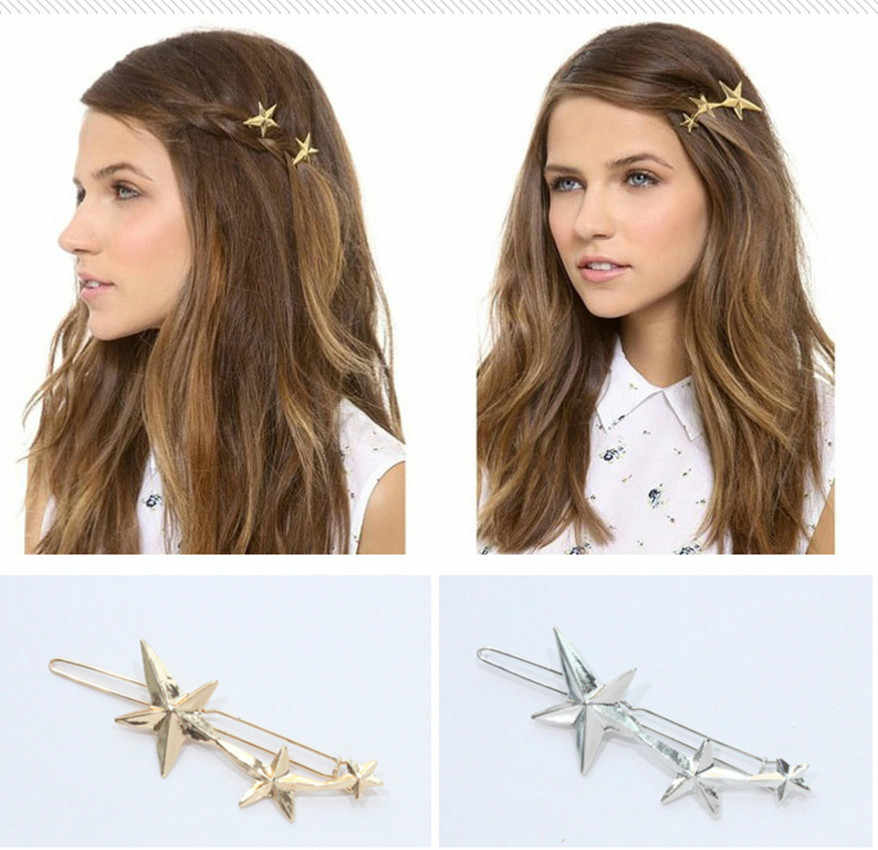 1 Pcs Fashion Golden Stars Hair Clip for Women Elegant Korean Design Snap Barrette Stick Hairpin Hair Styling Accessories