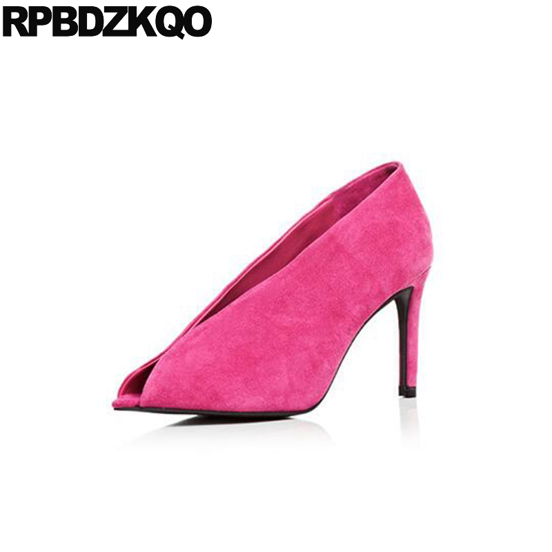 Pink Fish Mouth 3 Inch Peep Toe Abnormal Size 4 34 Pumps Suede Thin 2017 High Heels Celebrity Luxury Brand Women Shoes Autumn abnormal psychology 4e