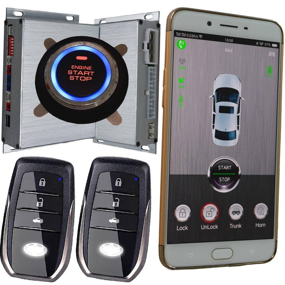 Automatique système d'alarme de sécurité gsm gps en ligne emplacement d'entrée sans clé d'allumage solution démarrage à distance arrêt moteur alarme voiture alarme gps