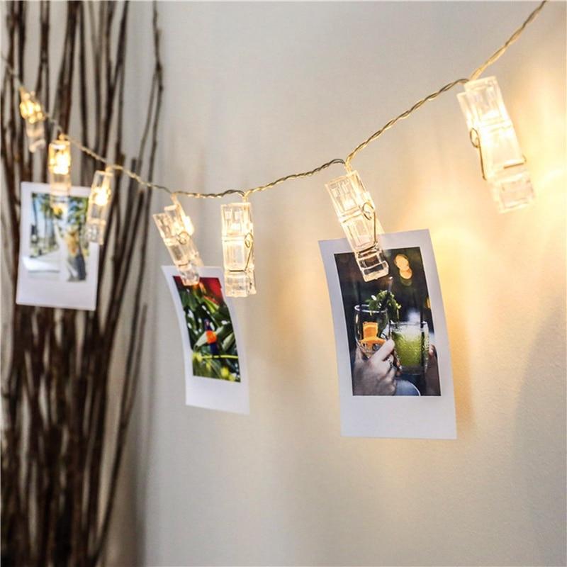 20 Photo Clip Led String Light Battery Powered Garland Fairy Light For Home Decor Memos Card Hanging Photos Artwork Flasher Lamp