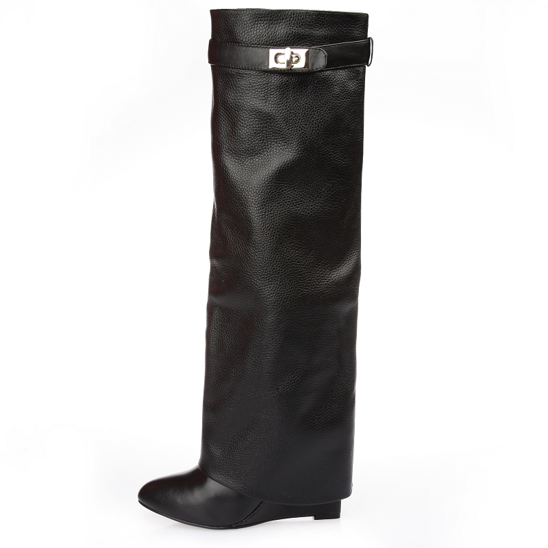 Fashion Spring Winter Solid Black Branded Design Shark Fold Leather Wedge Women Over The Knee Boots High Quality Drop Ship куртка non branded 11