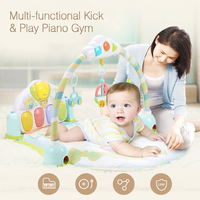 GOODWAY Soft Baby 3 in 1 Play Gym Mat Music with Piano Gym Carpet Infant Activity Play Mat Toys for Baby Early Educational Toys