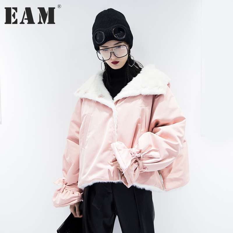 [EAM] 2017 new autumn winter lapel long sleeve solid color army green fur split joint big size warm coat women fashion JD29906