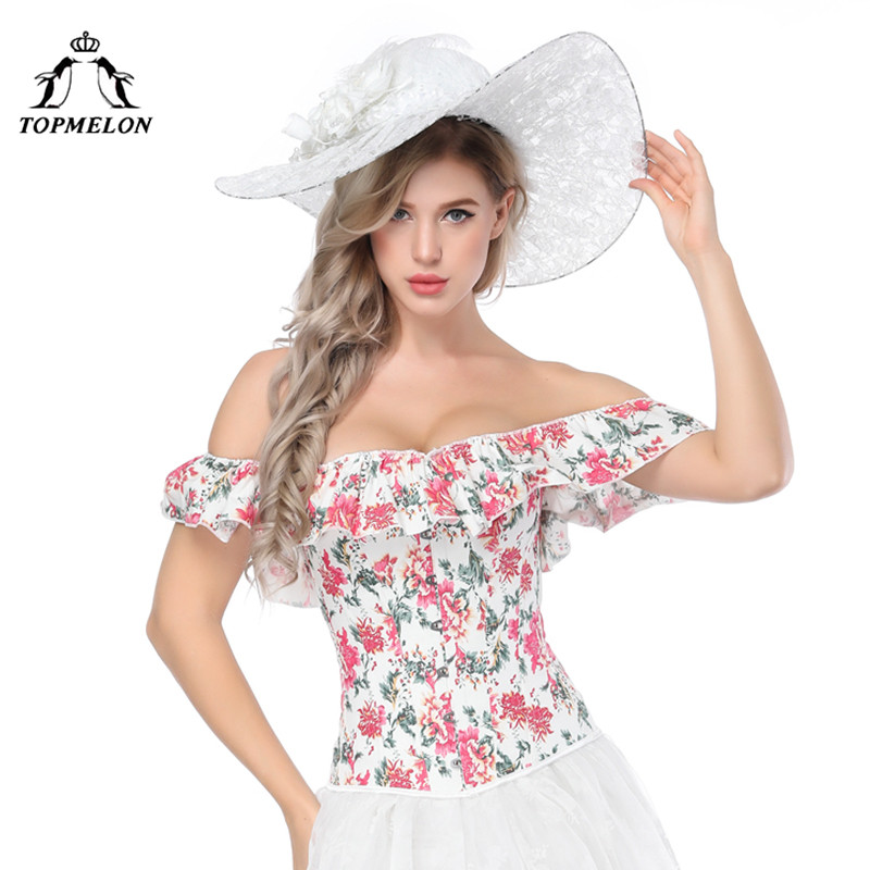TOPMELON Floral   Bustier   Top Women's Off Shoulder Ruffles   Corsets   and   Bustiers   Overbust Sexy   Corsets   Slimming Short Sleeve Cloth