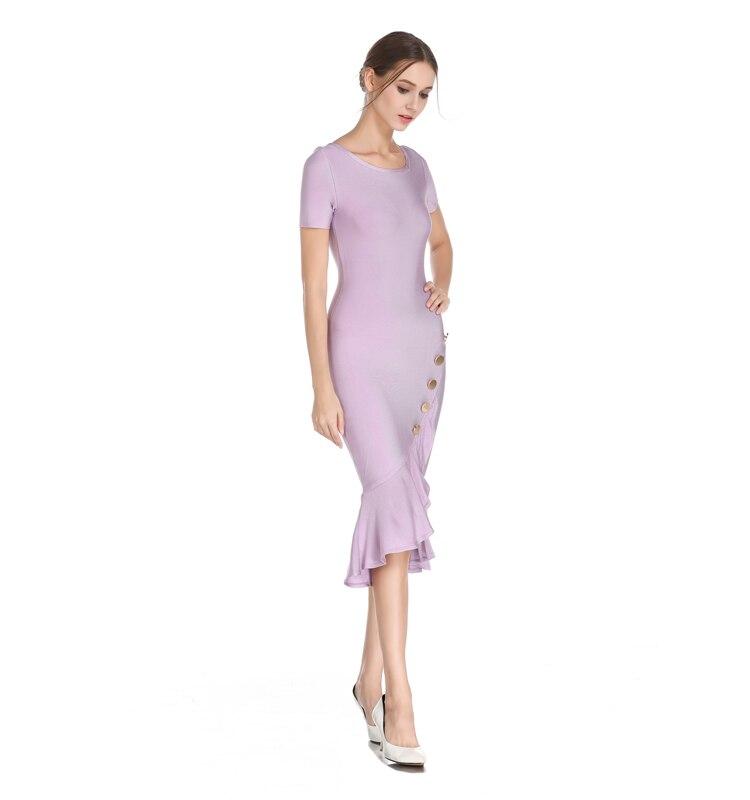 2018 Rond Robe Nouveau Col Beauté Genou Feuille De Lotus Courtes Manches Bandage Sexy Brillant Qualité Mode Haute Ba51xqwx