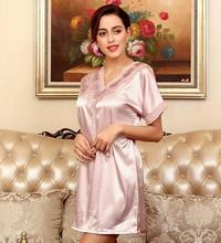 Hot style silk nightgown Ms leisurewear nobility sexy lace v-neck night dress with short sleeves in spring and summer
