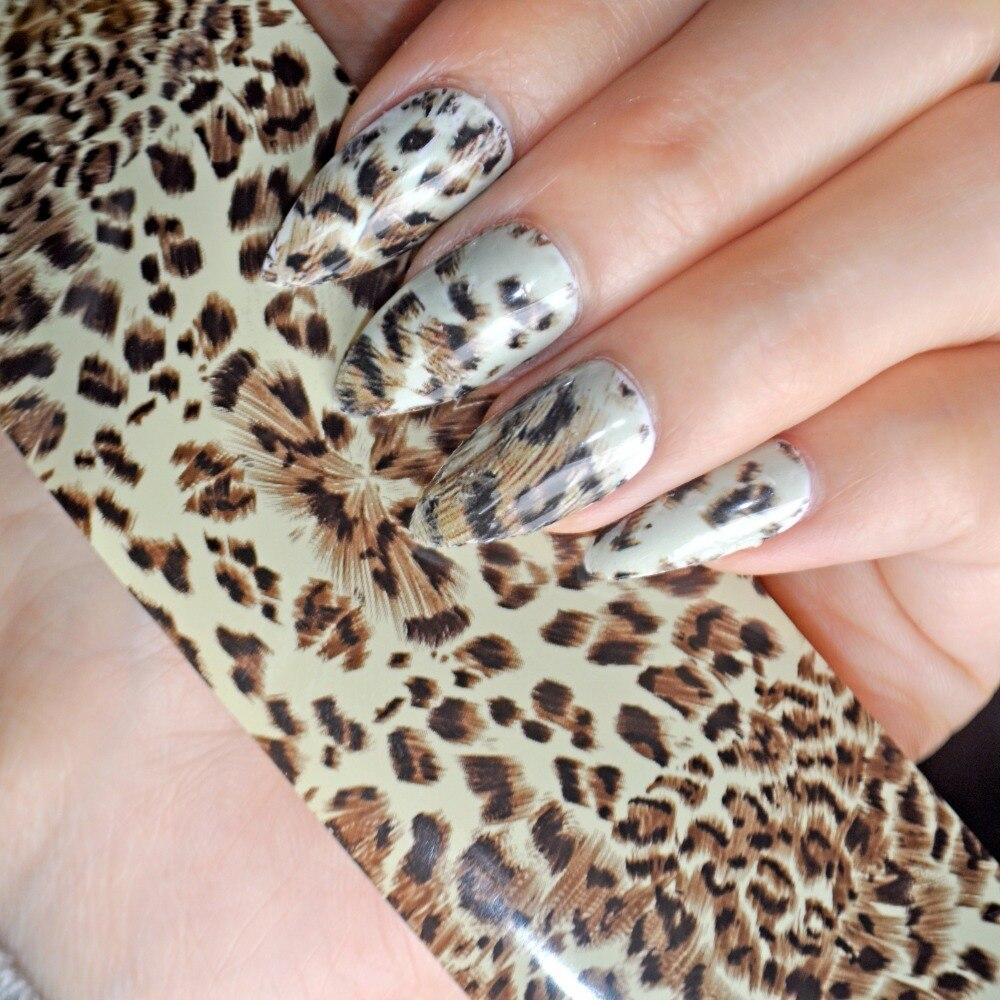 100 cm x 4 cm Sexy Leopard Muster Nagel Kunst Transferfolien ...