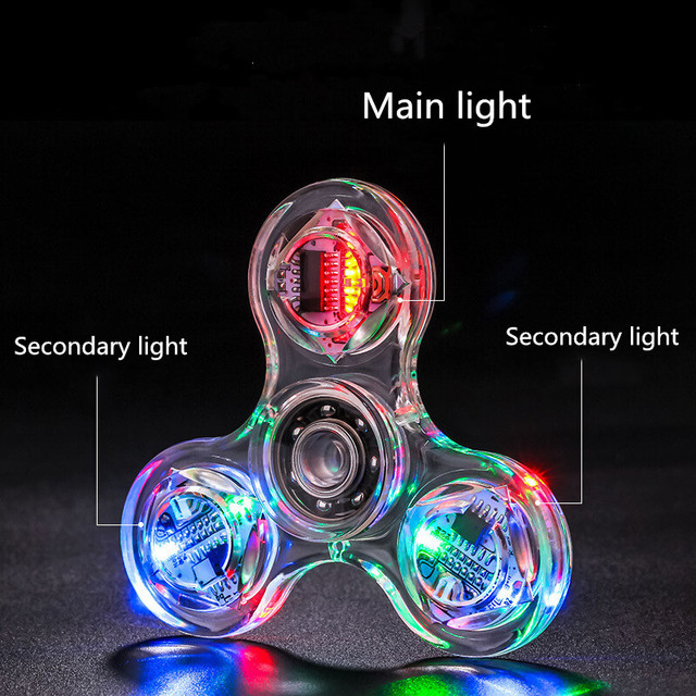 Creative LED Light Luminous Fidget Spinner Transparent Pattern Changes Hand Spinner Glow in the Dark Stress Relief Toys For Kids