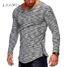 Laamei 2018 Spring Autumn Fashion Men s Casual Long Tshirt Zipper Irregular O Neck Striped Knitted