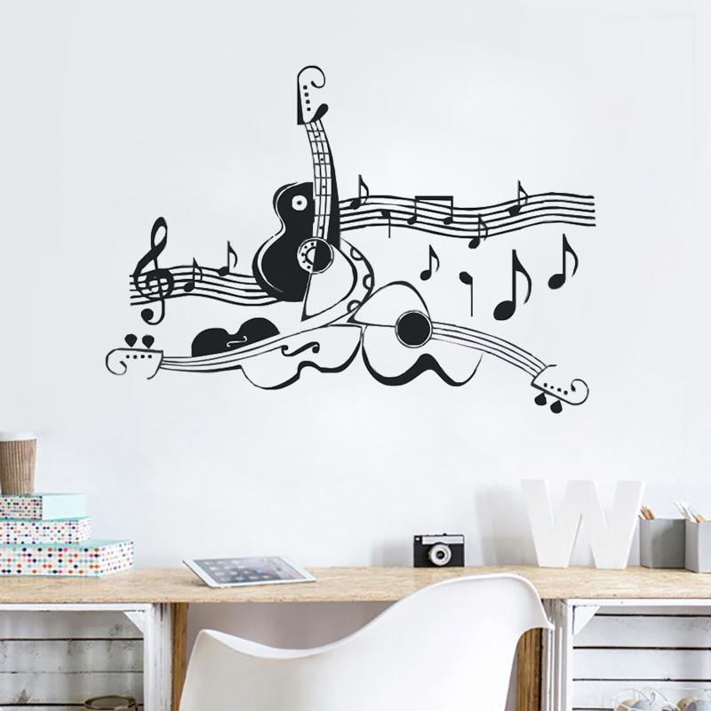 home decor wall sticker guitar sheet music cool living room decor vinyl decal home decor art. Black Bedroom Furniture Sets. Home Design Ideas