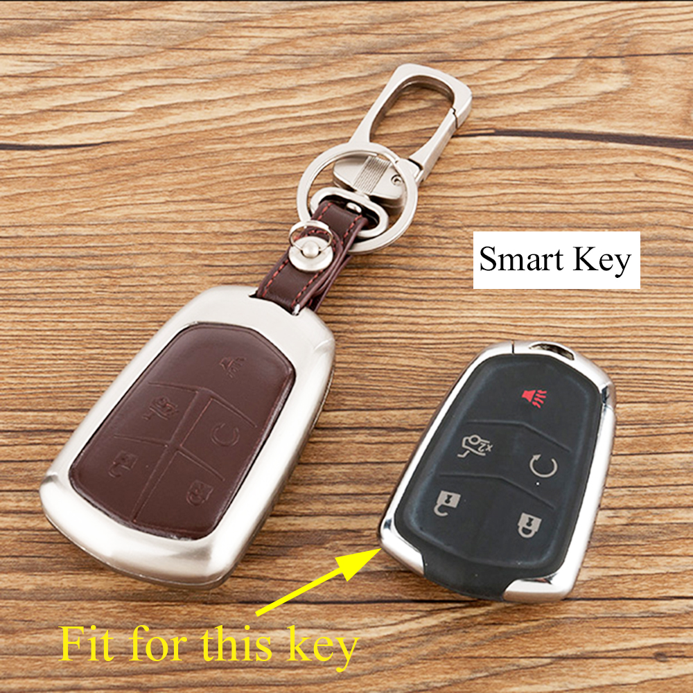 Alloy Remote Key Holder Shell Box Bag Chain Fit For Cadillac Ats Xts Xt5 Ct6 Srx Cts Accessories Smart 5 Buttons Key Case Cover Bright Luster