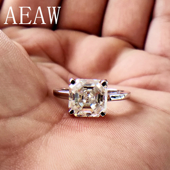 1 Carat Asscher Cut Moissanite Lab Diamond Ring Set HI Color Excellent Matching Band Ring For Women Solid 10K White Gold image
