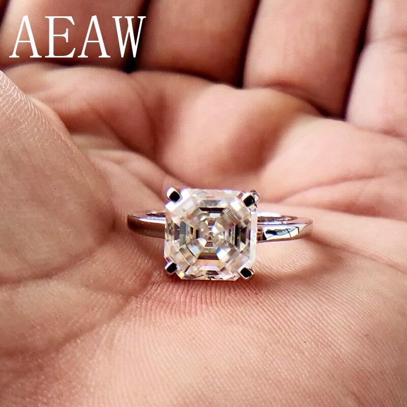 2 carati Asscher Cut Moissanite Lab Set Anello di Diamanti HI Colore di Corrispondenza Eccellente Band Ring Per Le Donne Solido 10 k oro bianco