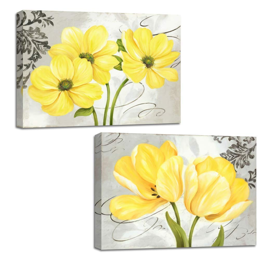 Beautiful Yellow And Gray Grey  Flowers Canvas Wall Art Abstract Floral Prints Home Decor Pictures 2 Panels Poster For Bedroom