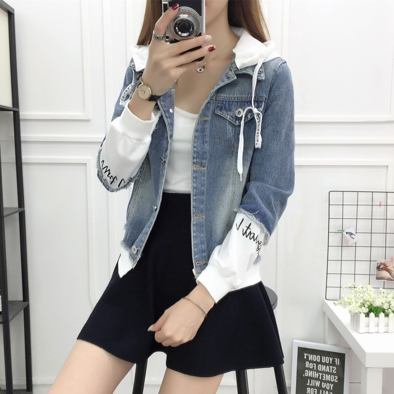 New Autumn Casual Hooded Short Denim Jacket Women Fashion Splicing Patch Coat Plus size Pockets Loose Jackets Jeans Coat Female 36